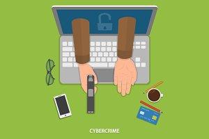 Cybercrime flat vector concept