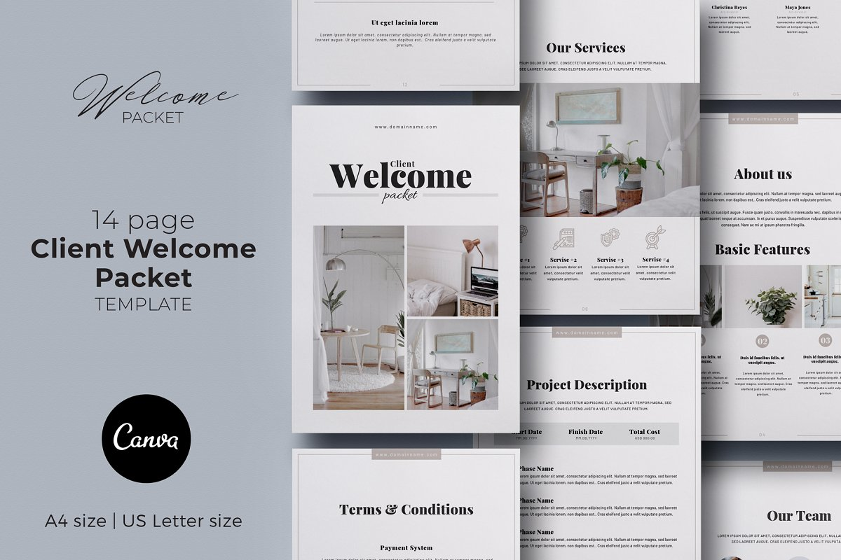 Client Welcome Packet Canva Template ~ Magazine Templates