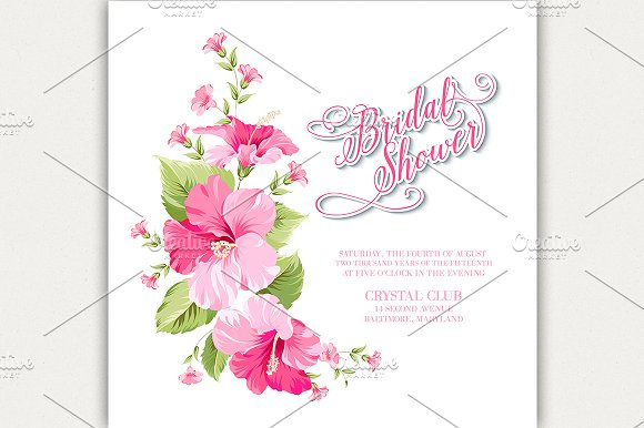 Flower Garland For Invitation Card Card Templates Creative Market