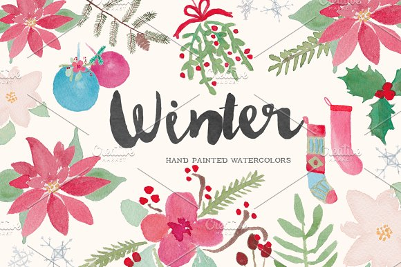 winter holiday watercolor clip art illustrations creative market