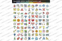 100 vector linear colored icons