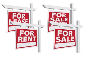 Set of Four Vector Real Estate Signs