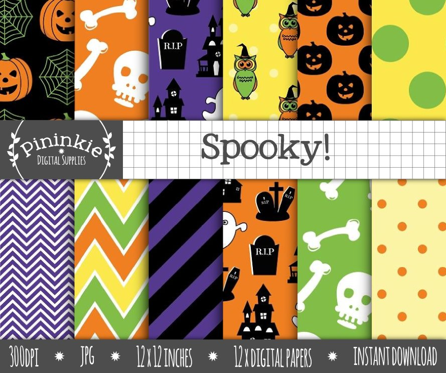 Spooky Digital Paper Custom Designed Graphic Patterns Creative Market