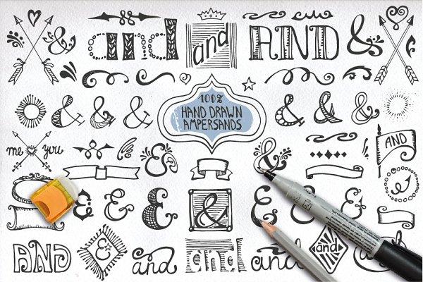 Symbol Fonts: Tatianakost49 - Handsketched ampersand decor set 2