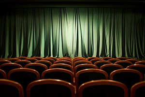 Theater stage green curtains