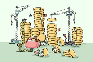 Doodle stack of coins with workers