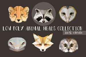 Low Poly Animal Heads Collection
