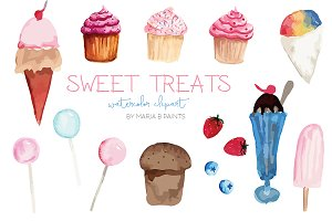 Watercolor Clip Art - Sweets