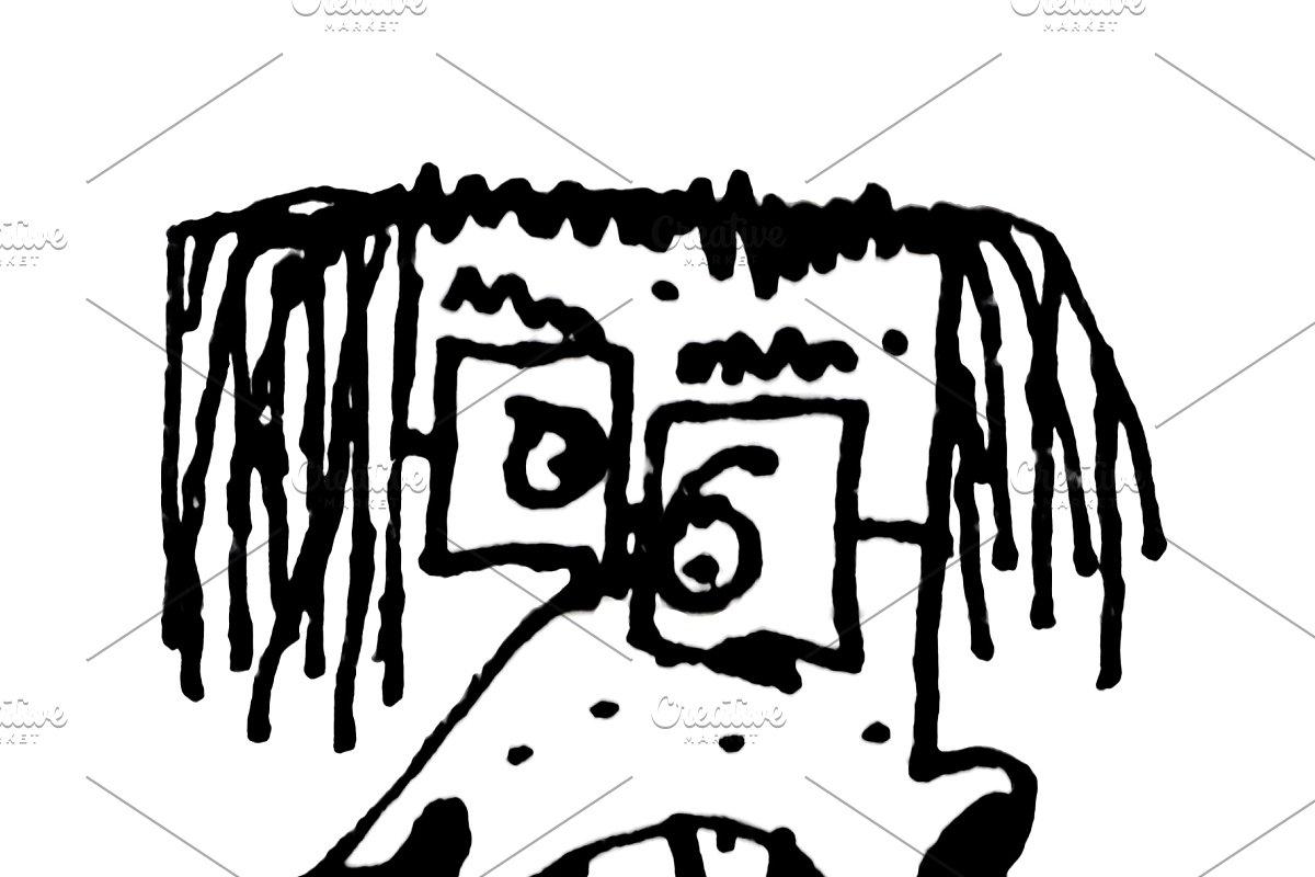 Angry man pencil drawing