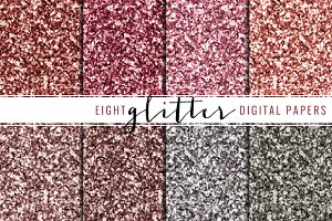 glitter digital paper red & pink