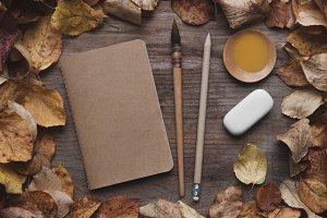 Autumn notebook mockup