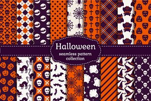 Halloween seamless patterns set.