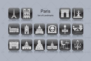 Paris landmark icons (16x)