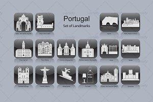 Portugal landmark icons (16x)