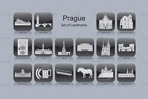 Praha landmark icons (16x)