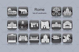Rome landmark icons (16x)