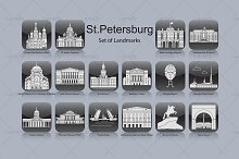 St. Petersburg landmark icons (16x)