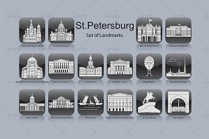 St. Petersburg landmark icons (16x)