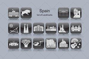Spain landmark icons (16x)