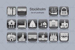 Stockholm landmark icons (16x)