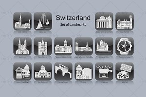Swiss landmark icons (16x)