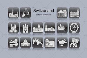 Swiss landmark icons (16x)