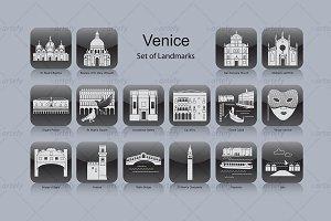 Venice landmark icons (16x)