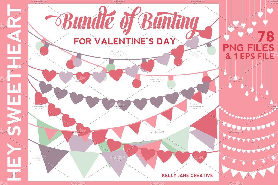 valentines day bunting on sale illustrations creative market