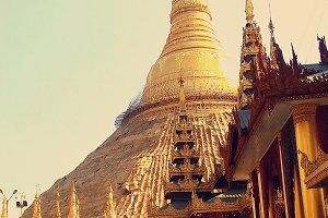 Shwedagon Pagoda at  Yangon, Myanmar