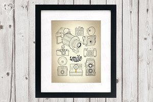 Vintage cameras wall decor printable