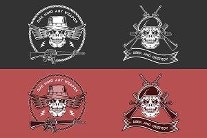 Military emblems.