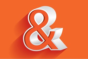 3d ampersand vector