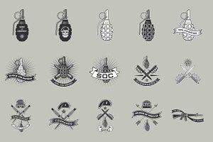 Military emblems set