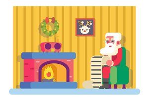 New Year Santa Claus Fireplace