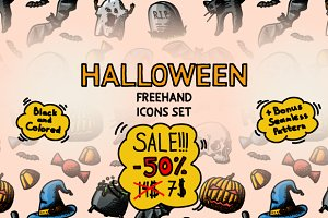 Sale:Freehand Halloween Icons +Bonus
