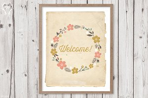 Welcome floral vintage wreath art