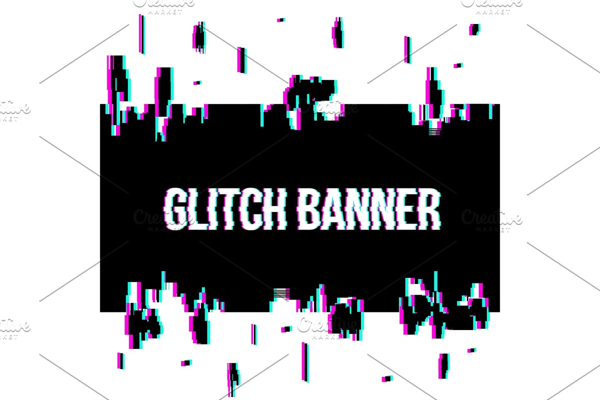 Glitch style distorted blank banner