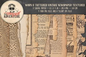 Worn & Tattered Vintage Newspaper