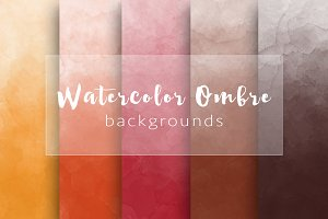 Ombre watercolor autumn backgrounds