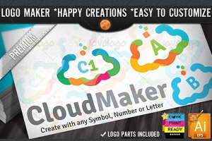 Colorful Flat Cloud Logo Maker Set
