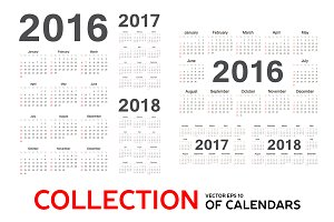 Collection of vector calendars