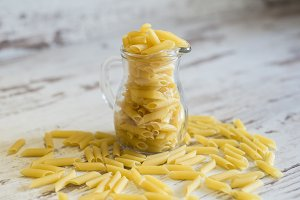 Macaroni in a glass jar