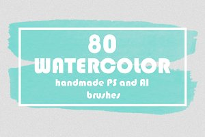 SALE!80 watercolor PS and AI brushes