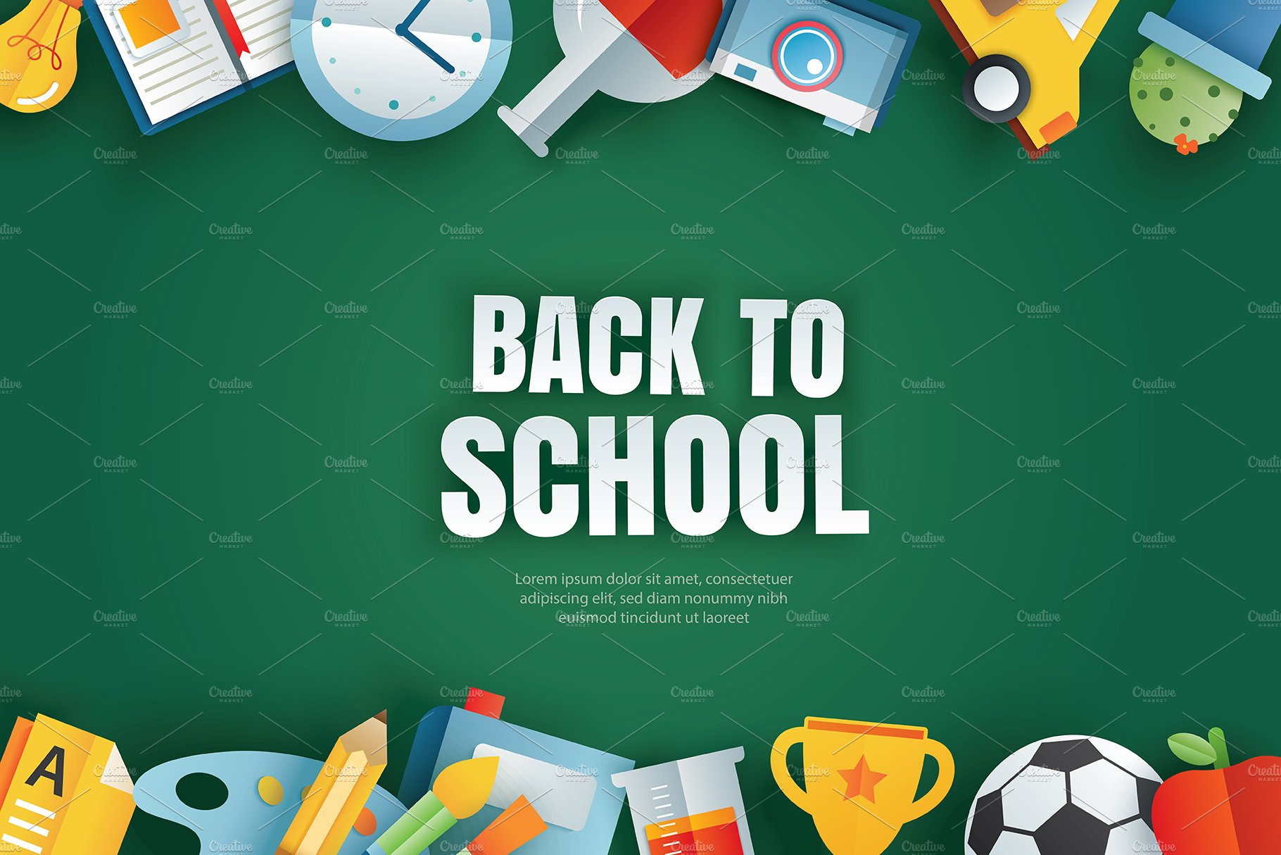 Back To School Banner Background Pre Designed Illustrator Graphics Creative Market
