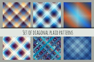 Set of diagonal plaid patterns.