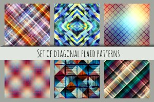 Diagonal plaid patterns.