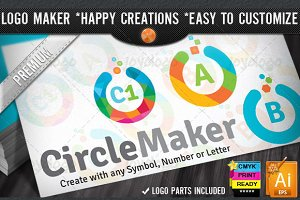 Colorful Flat Circle Logo Maker Set