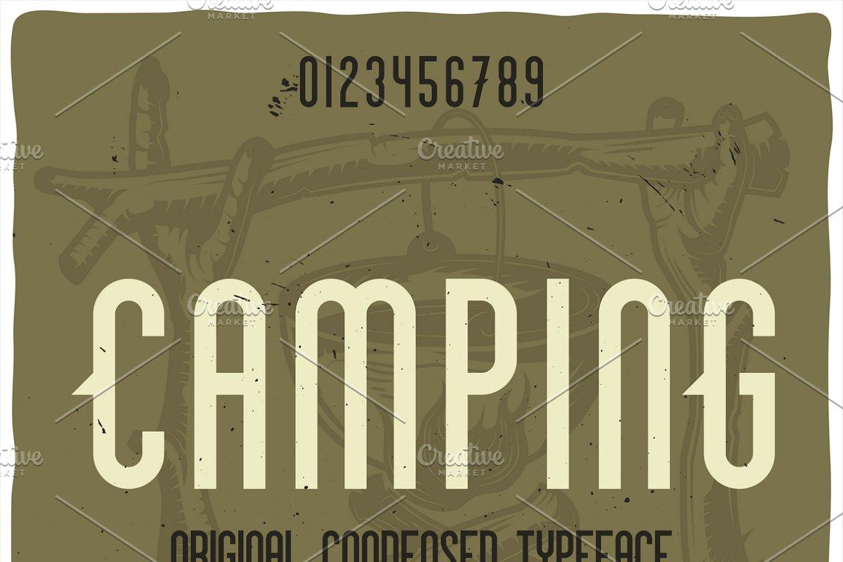 Vintage label typeface Camping ~ Display Fonts ~ Creative Market