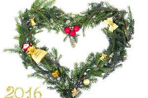 Christmas frame from fir branch