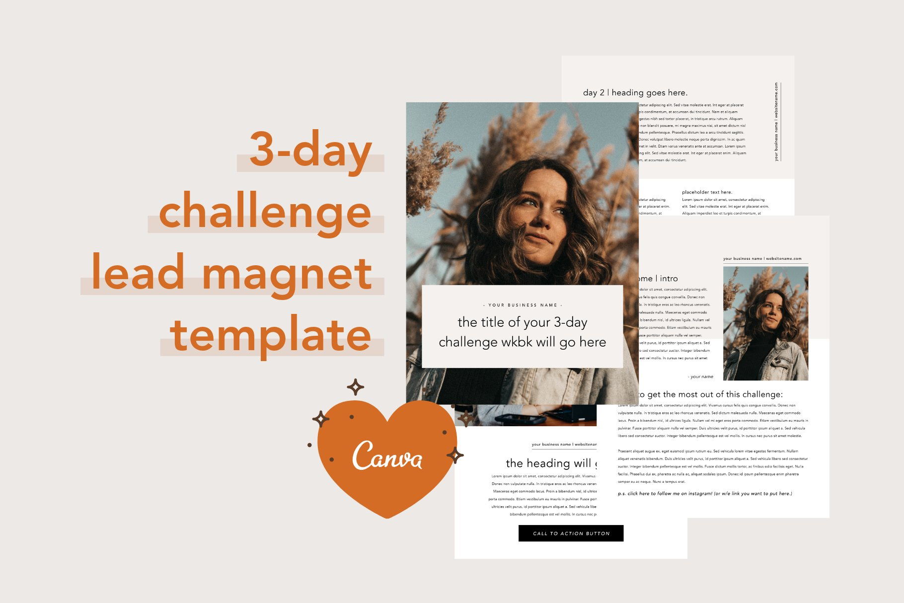 3 Day Challenge Lead Magnet | Canva ~ Magazine Templates ~ Creative
